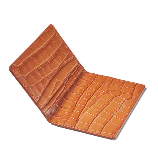 Double Fold Credit Card Holder in Deep Shine Marmalade Small Croc from Aspinal of London