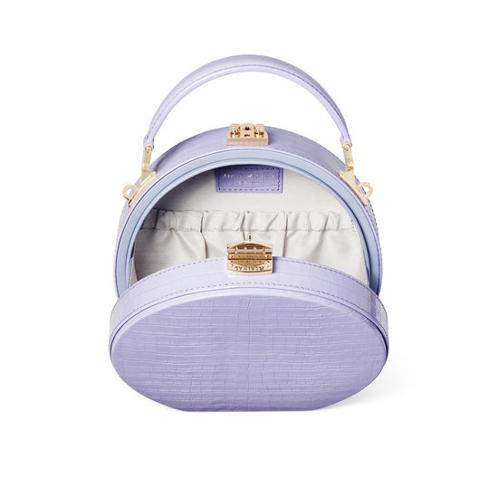 Hat Box in Deep Shine English Lavender Small Croc from Aspinal of London