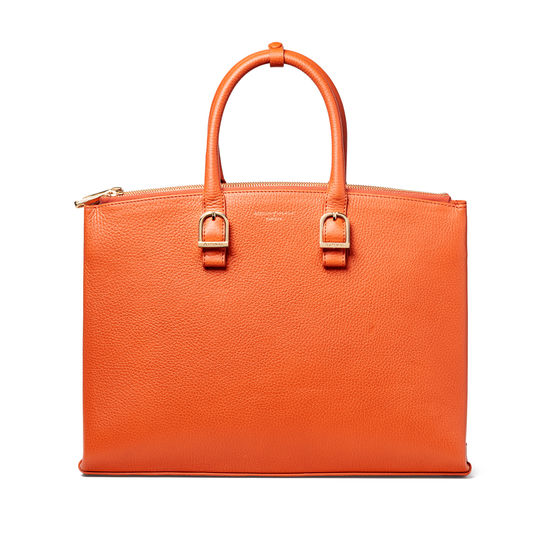 Madison Tote in Marmalade Pebble from Aspinal of London
