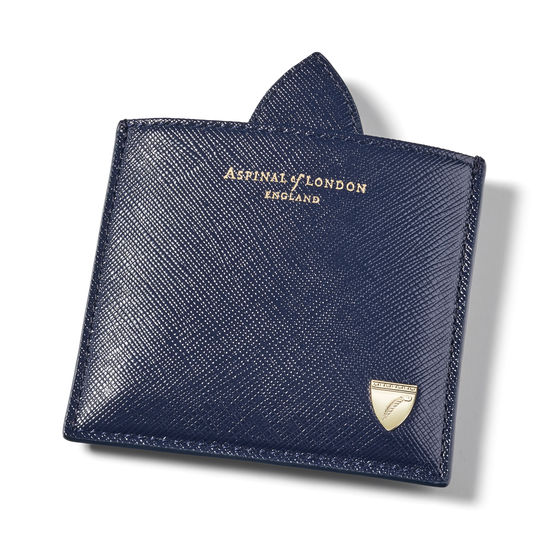 Compact Mirror in Navy Saffiano from Aspinal of London