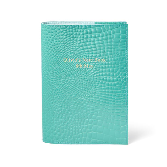 A5 Refillable Leather Journal in Chalkhill Blue Patent Croc from Aspinal of London