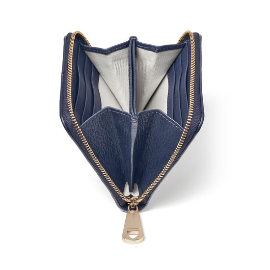 'A' Purse in Navy Pebble from Aspinal of London