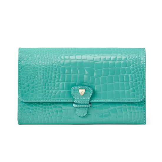 Travel Wallet with Removable Inserts in Chalkhill Blue Patent Croc from Aspinal of London