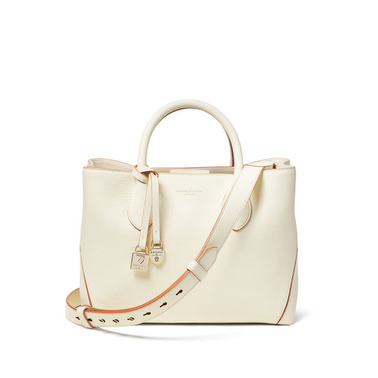Midi London Tote in Ivory Pebble from Aspinal of London