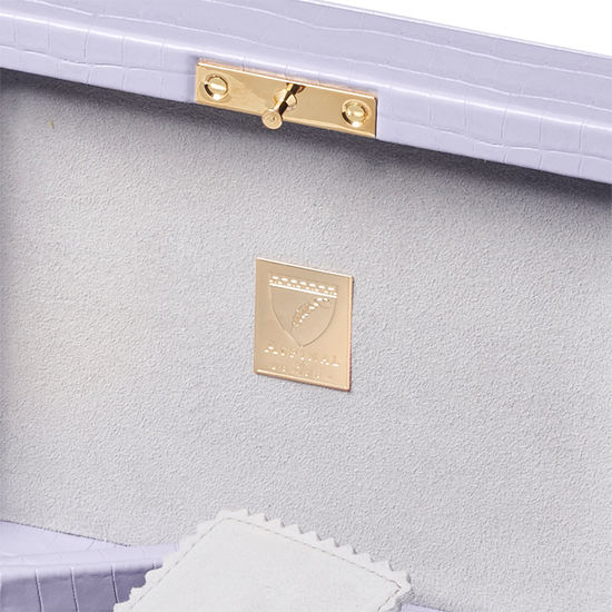 Bijou Jewellery Box in Deep Shine English Lavender Small Croc from Aspinal of London