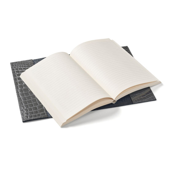 A5 Refillable Leather Journal in Storm Patent Croc from Aspinal of London