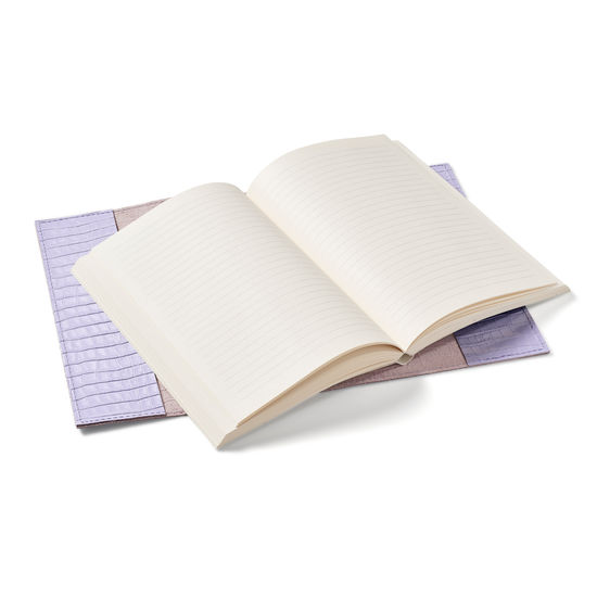 A5 Refillable Leather Journal in English Lavender Small Croc from Aspinal of London
