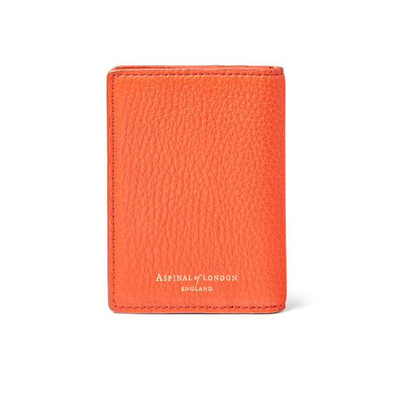 Double Fold Credit Card Holder in Marmalade Pebble from Aspinal of London