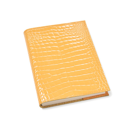 A5 Refillable Leather Journal in Meadow Patent Croc from Aspinal of London