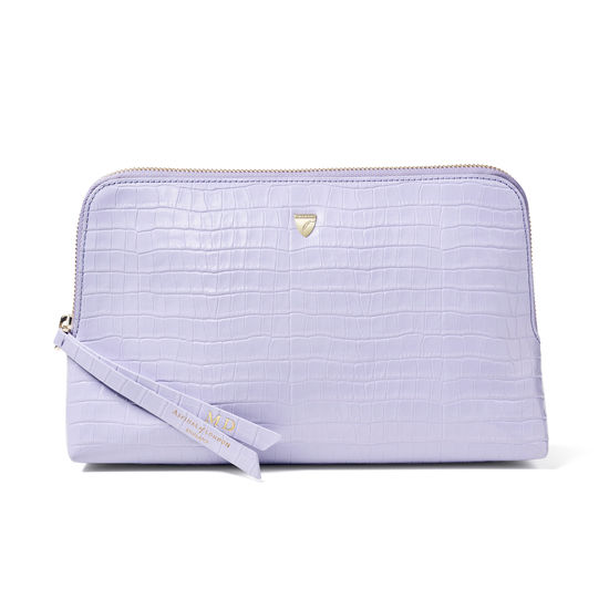 Large Essential Cosmetic Case in Deep Shine English Lavender Small Croc from Aspinal of London