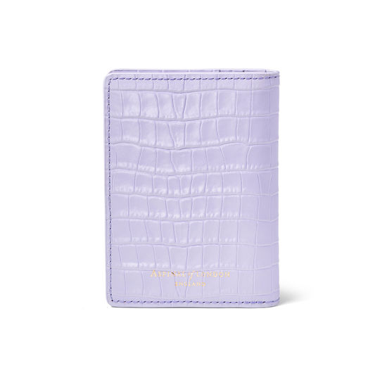 Double Fold Credit Card Holder in Deep Shine English Lavender Small Croc from Aspinal of London