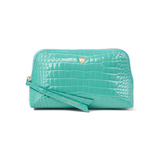 Small Essential Cosmetic Case in Chalkhill Blue Patent Croc from Aspinal of London