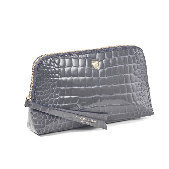 Small Essential Cosmetic Case in Storm Patent Croc from Aspinal of London