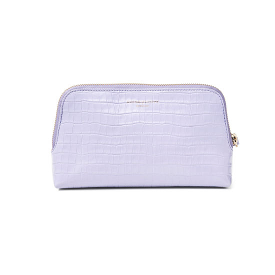 Small Essential Cosmetic Case in Deep Shine English Lavender Small Croc from Aspinal of London