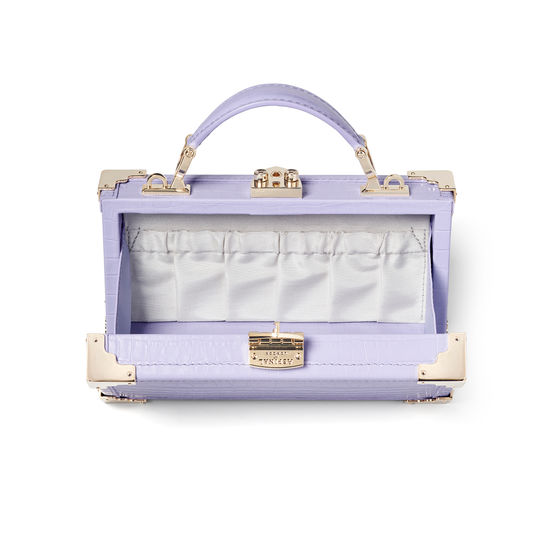 Trinket Box in Deep Shine English Lavender Small Croc from Aspinal of London