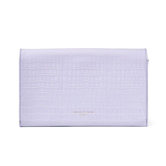 Travel Wallet with Removable Inserts in Deep Shine English Lavender Small Croc from Aspinal of London