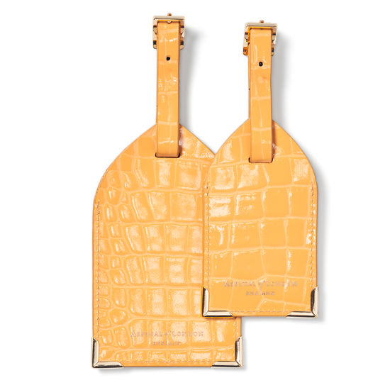 Set of 2 Luggage Tags in Meadow Patent Croc from Aspinal of London