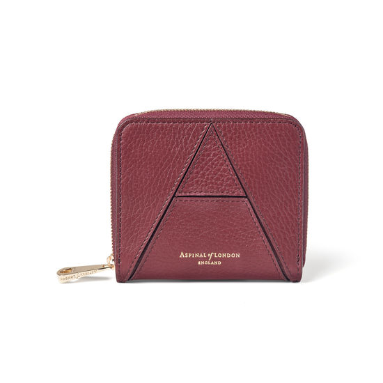 'A' Purse in Bordeaux Pebble from Aspinal of London