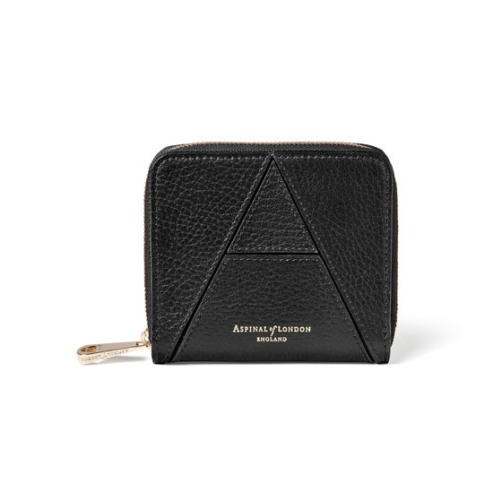 'A' Purse in Black Pebble from Aspinal of London