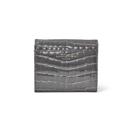 Small Mayfair Purse in Storm Patent Croc from Aspinal of London