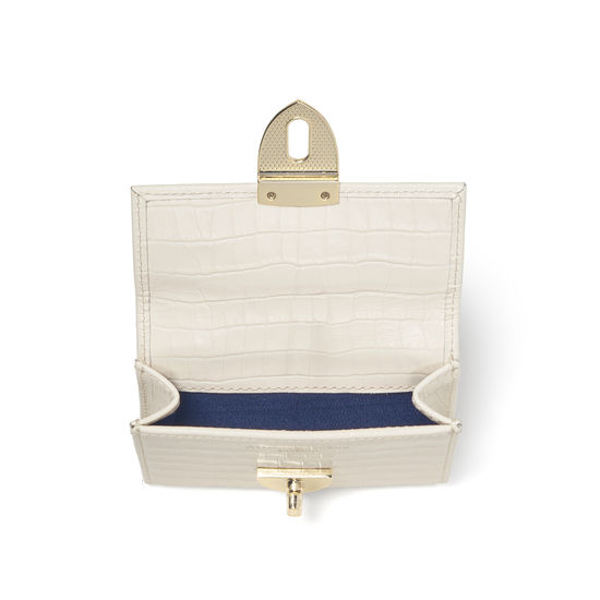 Small Mayfair Purse in Deep Shine Ivory Small Croc from Aspinal of London