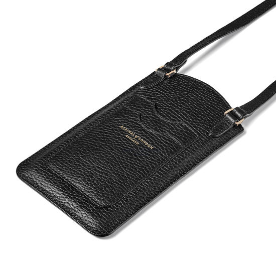 London Phone Case in Black Pebble from Aspinal of London