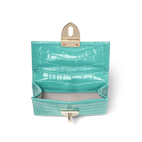 Small Mayfair Purse in Chalkhill Blue Patent Croc from Aspinal of London