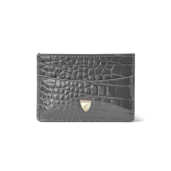 Slim Credit Card Holder in Storm Patent Croc from Aspinal of London