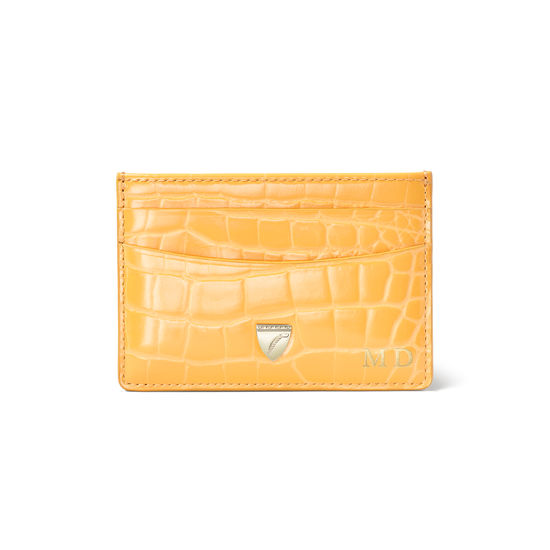 Slim Credit Card Holder in Meadow Patent Croc from Aspinal of London
