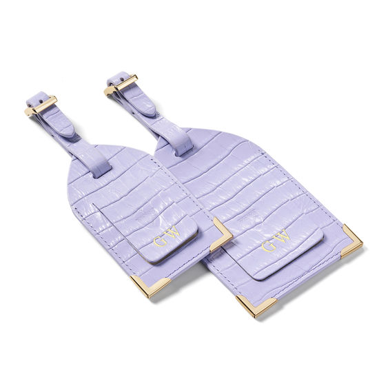 Set of 2 Luggage Tags in Deep Shine English Lavender Small Croc from Aspinal of London