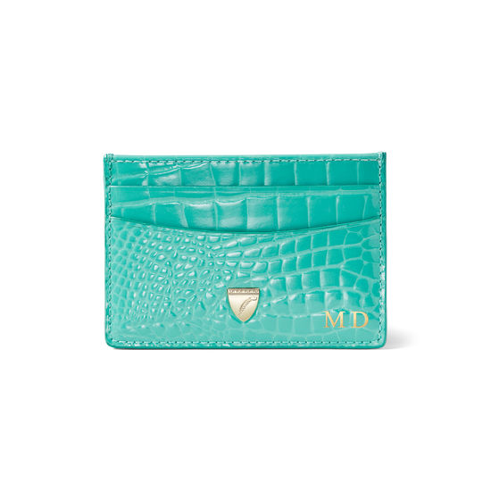 Slim Credit Card Holder in Chalkhill Blue Patent Croc from Aspinal of London