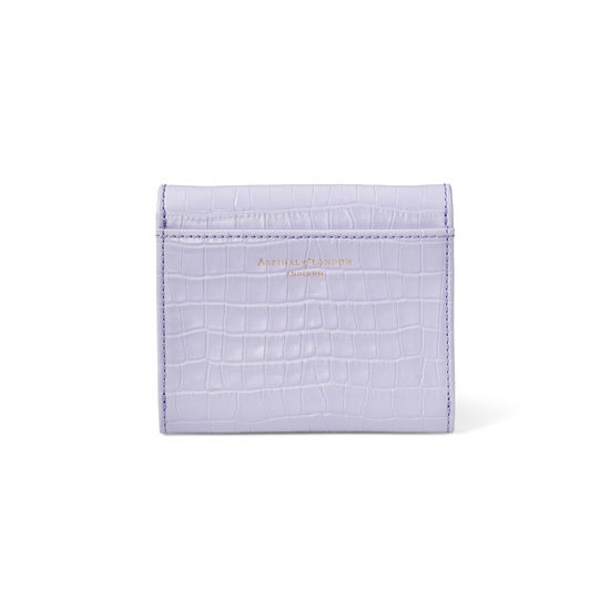 Small Mayfair Purse in Deep Shine English Lavender Small Croc from Aspinal of London