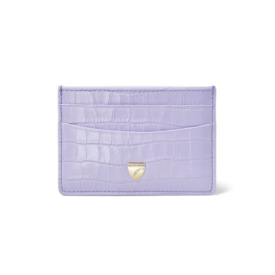 Slim Credit Card Holder in Deep Shine English Lavender Small Croc from Aspinal of London