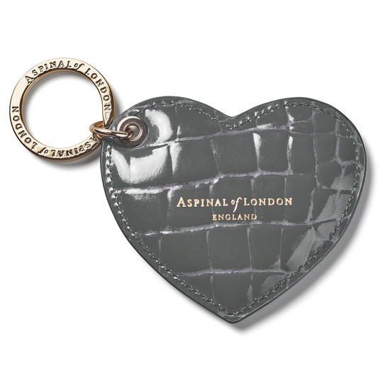 Heart Key Ring in Storm Patent Croc from Aspinal of London