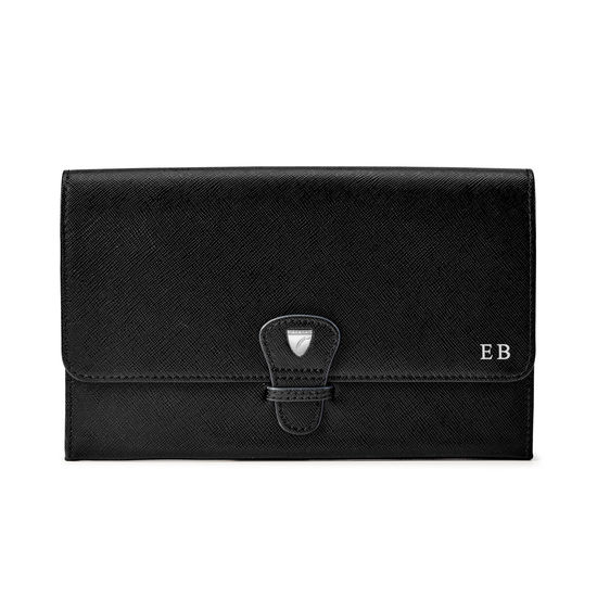 Travel Wallet with Removable Inserts in Black Saffiano from Aspinal of London
