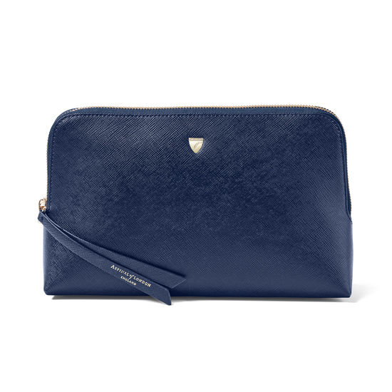 Large Essential Cosmetic Case in Navy Saffiano from Aspinal of London