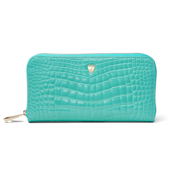 Continental Purse in Chalkhill Blue Patent Croc from Aspinal of London