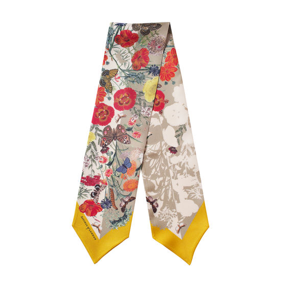 Botanical 'A' Silk Neck Bow Scarf in Poppy Pure Silk from Aspinal of London