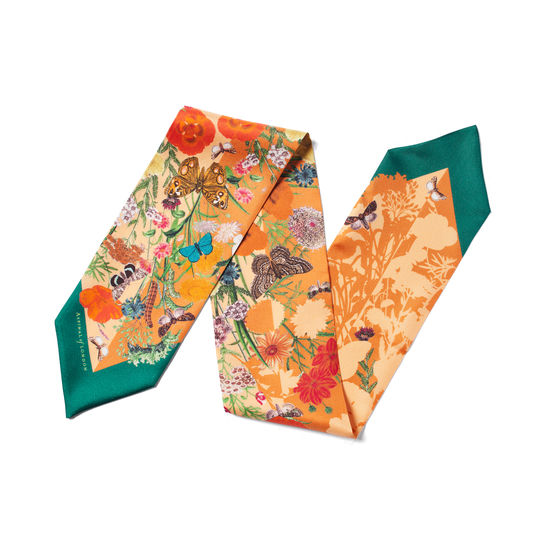 Botanical 'A' Silk Neck Bow Scarf in Meadow Pure Silk from Aspinal of London