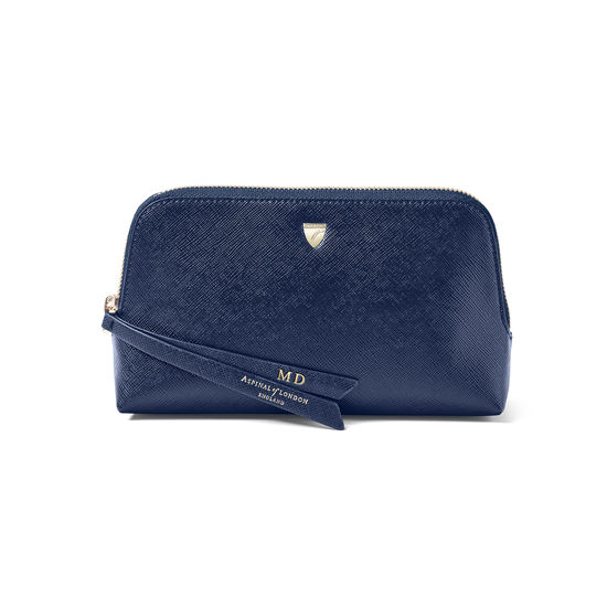 Small Essential Cosmetic Case in Navy Saffiano from Aspinal of London
