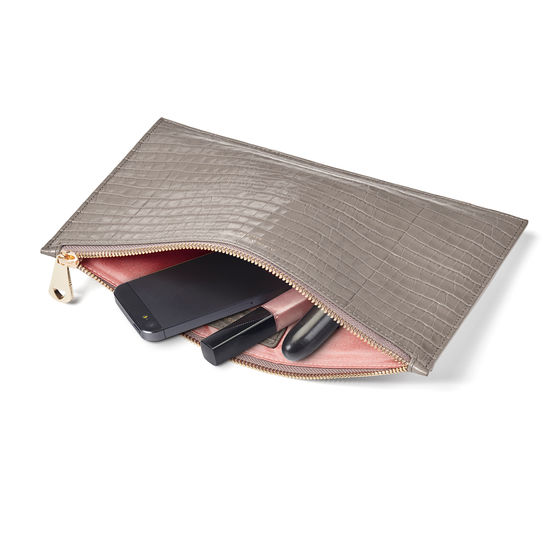 Large Essential Flat Pouch in Deep Shine Warm Grey Small Croc from Aspinal of London