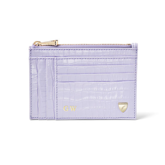 Double Sided Zipped Card & Coin Holder in Deep Shine English Lavender Small Croc from Aspinal of London
