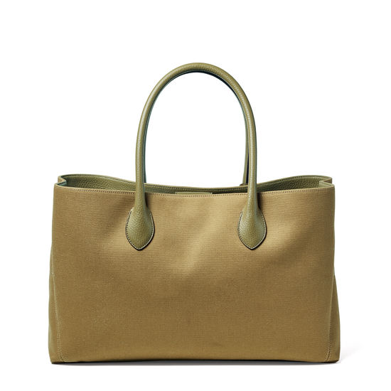 London Tote in Khaki Canvas from Aspinal of London