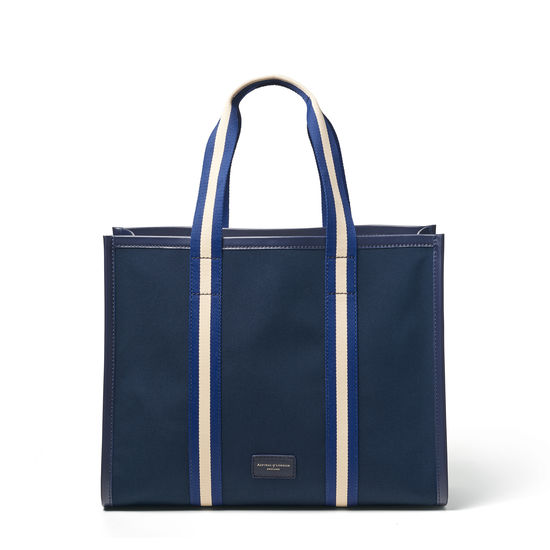Henley Tote in Navy Canvas from Aspinal of London