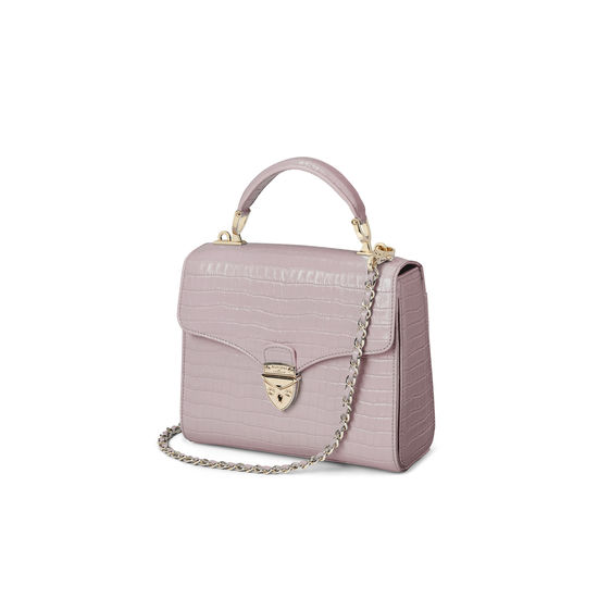 Midi Mayfair Bag in Deep Shine Lilac Small Croc from Aspinal of London