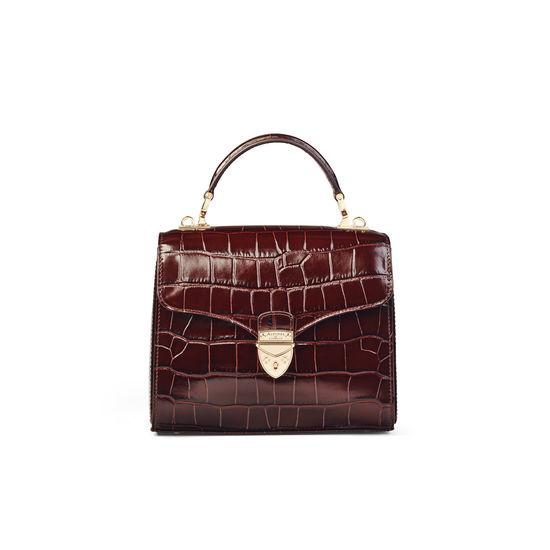 Midi Mayfair Bag in Deep Shine Amazon Brown Croc from Aspinal of London