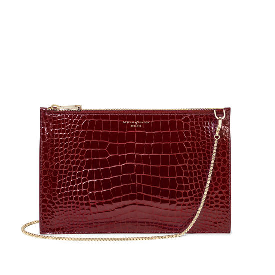 Soho Bag in Bordeaux Patent Croc from Aspinal of London