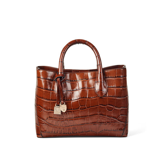 Midi London Tote in Deep Shine Brown Soft Croc from Aspinal of London