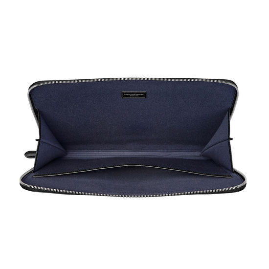 City Laptop Folio in Black Saffiano from Aspinal of London