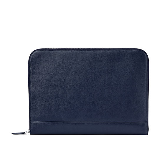 City Laptop Folio in Navy Saffiano from Aspinal of London